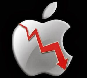 apple shares falling